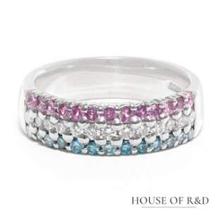 Platinum 900 - 0.74tcw - Diamonds & Pink Sapphire Ring