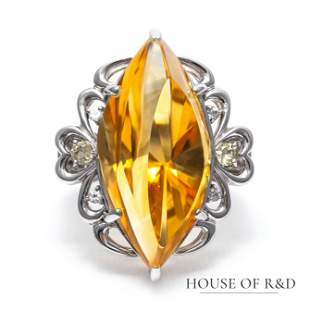 18k White Gold - 18.61tcw - Citrine & Diamonds Ring