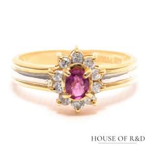 Platinum 18k Yellow Gold - 0.45tcw -  Ruby & Diamonds