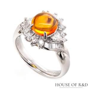 Platinum 900 - 1.98tcw - Fire Opal & Diamonds Ring