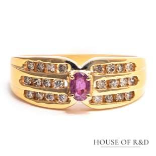 18k Yellow Gold - 0.40tcw -  Ruby & Diamonds Ring