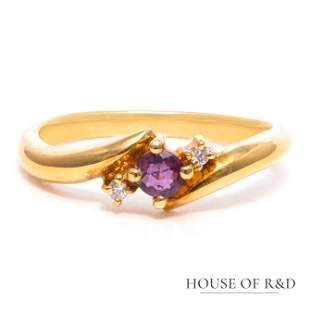 18k Yellow Gold - 0.20tcw - Ruby & Diamonds Ring
