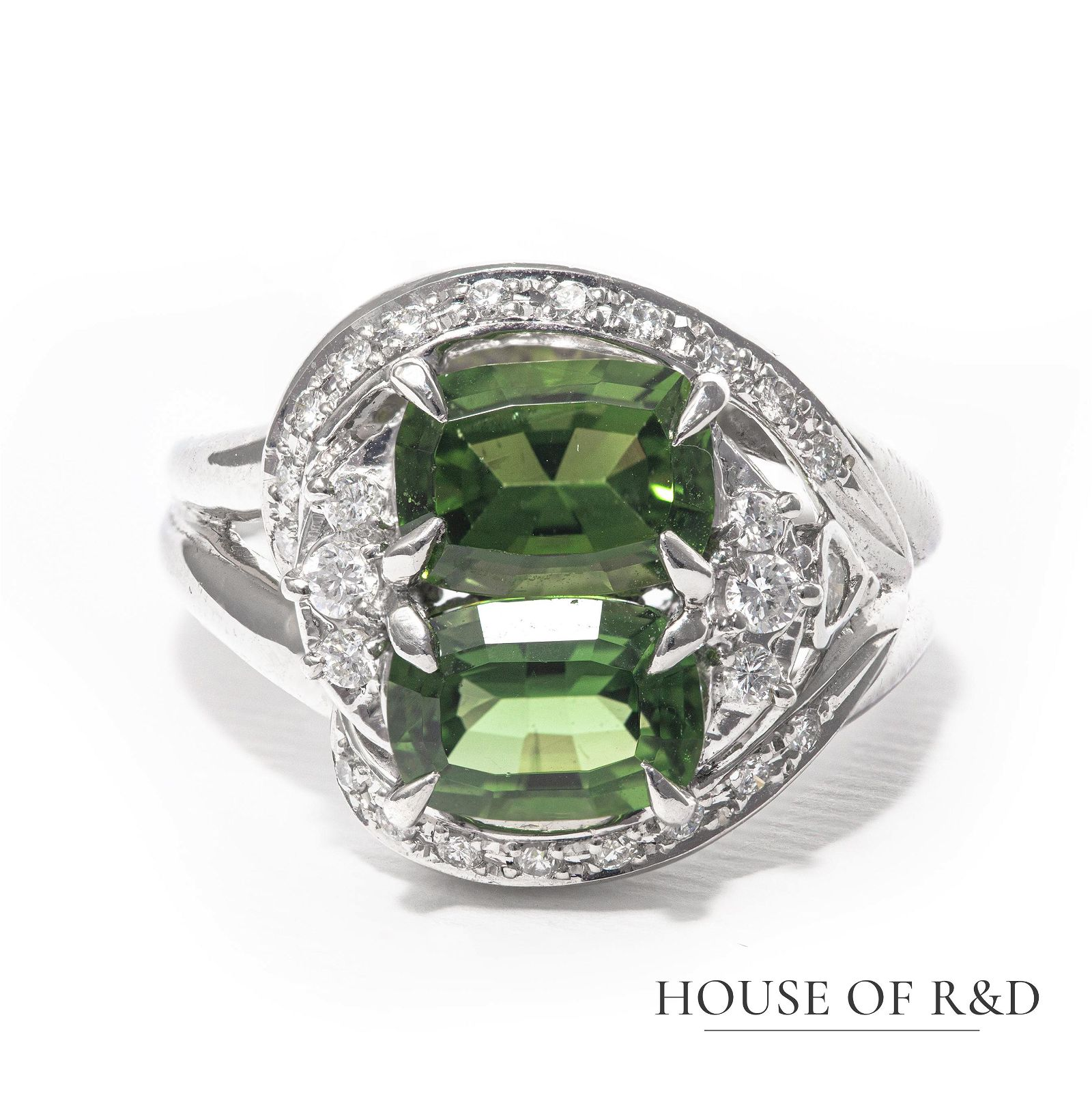 Platinum 900 - 3.04tcw - Tourmaline & Diamond Ring