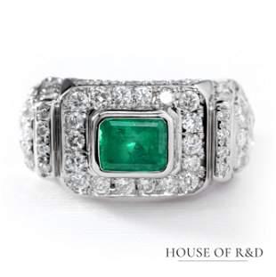 Platinum 900 - 3.31tcw - Emerald & Diamonds Ring