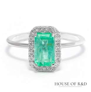 14k White Gold - 1.18tcw -  Emerald & Diamonds Ring
