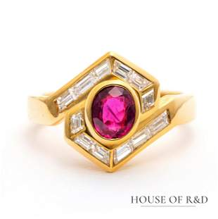 18k Yellow Gold - 1.50tcw - Ruby & Diamonds Ring