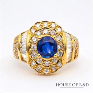 18k Yellow Gold - 2.72tcw -  Sapphire & Diamonds Ring