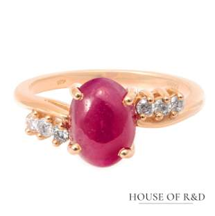 14k Rose Gold - 2.77tcw -  Ruby & Diamonds Ring