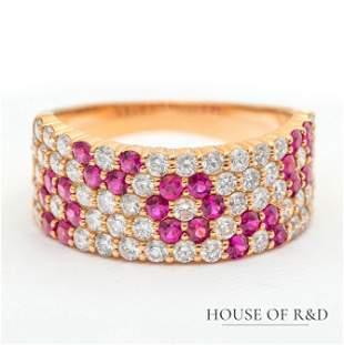 18k Rose  Gold - 2.21tcw - Ruby & Diamonds Ring