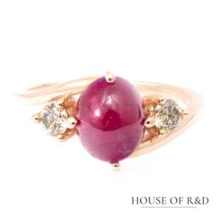 14k Rose Gold - 3.91tcw -  Ruby & Diamonds Ring