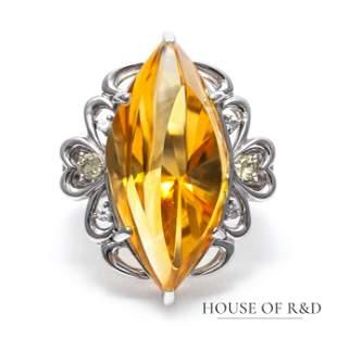 18k White Gold - 18.61tcw - Citrine & Diamonds Ring
