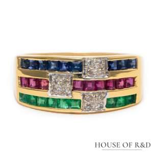 18k Yellow Gold - 0.68tcw -  Gemstones & Diamonds Ring