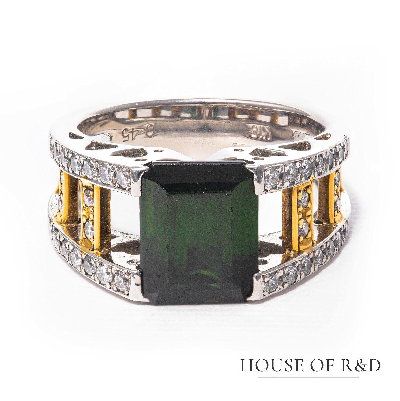 Platinum - 4.03tcw - Tourmaline & Diamond Ring
