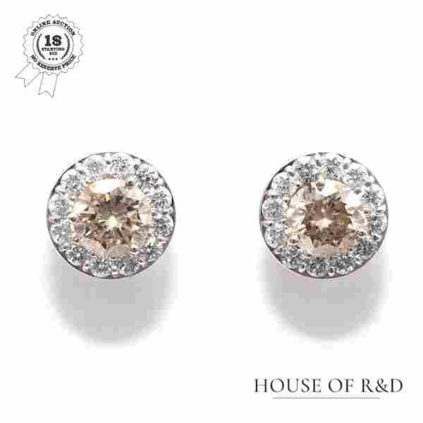 14k White Gold - 1.39tcw - Diamonds Earrings