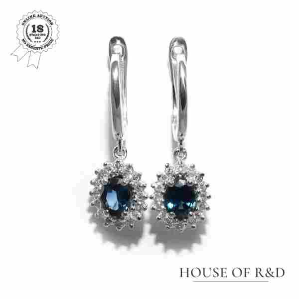 14k White Gold - 1.76tcw - Sapphire & Diamonds Earrings