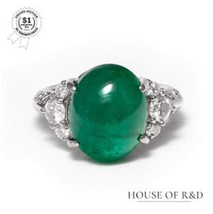 Platinum 900 - 7.47tcw - Emerald & Diamond Ring