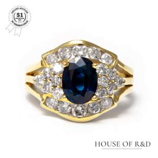 18k Yellow Gold - 2.64tcw -  Sapphire & Diamond Ring