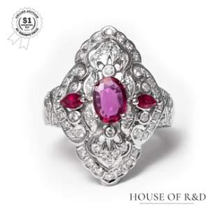Platinum 900 - 1.98tcw - Ruby & Diamonds Ring