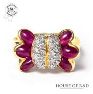 18k Yellow Gold - 2.76tcw -  Ruby & Diamond Ring
