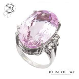 Platinum 900 - 22.62tcw -  Spodumene & Diamond Ring