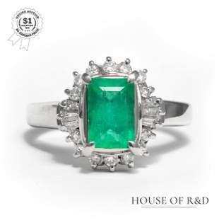 Platinum 900 - 1.63tcw - Emerald & Diamond Ring