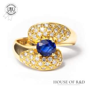 18k Yellow Gold - 1.30tcw -  Sapphire & Diamond Ring