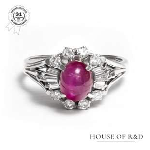 Platinum 850- 2.70tcw - Ruby & Diamond Ring