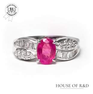 Platinum 900 - 1.45tcw - Ruby & Diamond Ring