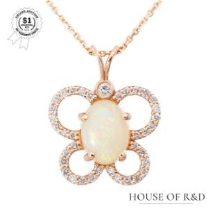 14k Rose Gold - 1.00tcw - White Opal & Diamond Pendant