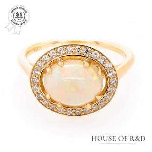 14k Yellow Gold - 2.91tcw -  White Opal & Diamond Ring
