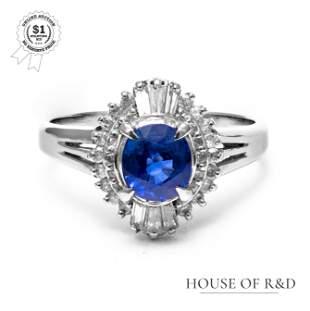 Platinum 900 - 1.68tcw - Sapphire & Diamond Ring