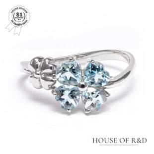 14k White Gold - 0.80tcw - Aquamarine Ring