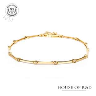 18k Yellow Gold - 0.10tcw - Diamond Tennis Bracelet