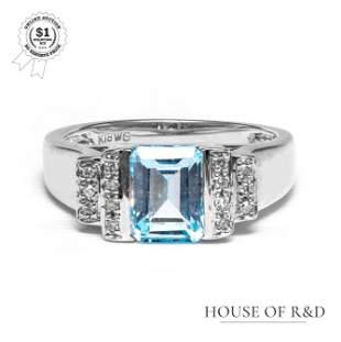 18k White Gold - 1.90tcw - Blue Topaz & Diamond Ring