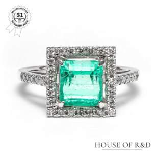Platinum 900 - 2.09tcw - Emerald & Diamond Ring