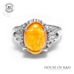 Platinum 900 - 3.50tcw - Fire Opal & Diamond Ring