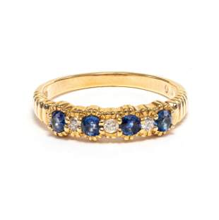 18k Yellow Gold - 0.26tcw - Sapphire & Diamond Ring