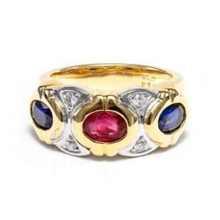18k Yellow & White Gold- 0.79tcw - Ruby & Sapphire Ring