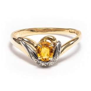 18k Yellow Gold - 0.49tcw - Sapphire & Diamond Ring