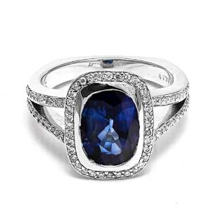 18k White Gold - 4.00tcw - Sapphire & Diamond Ring