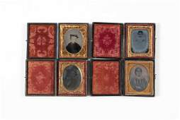 FOUR NINTH PLATE AMBROTYPE PHOTOGRAPHS IN LEATHER CASES