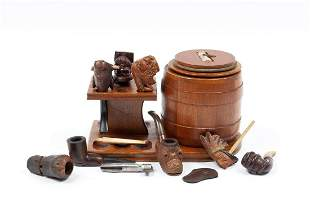 EIGHT CARVED SMOKING PIPES ON STAND WITH HUMIDOR