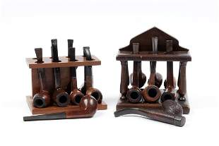 COLLECTION OF SMOKING PIPES WITH TWO PIPE STANDS