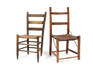 PAIRING OF PRIMITIVE LADDER BACK CHAIRS