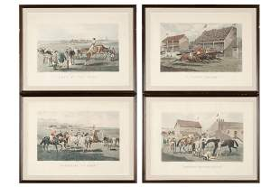 SET OF FOUR HAND COLORED EQUESTRIAN ENGRAVINGS AFTER