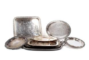 COLLECTION OF EIGHT ASSORTED PLATED SILVER SERVING