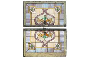 PAIR OF FULL STAINED GLASS WINDOWS