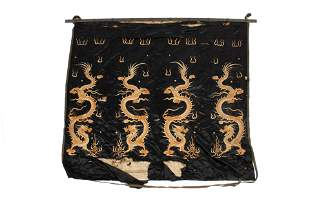 ART DECO CHINESE DRAGON EMBROIDERY FLAG