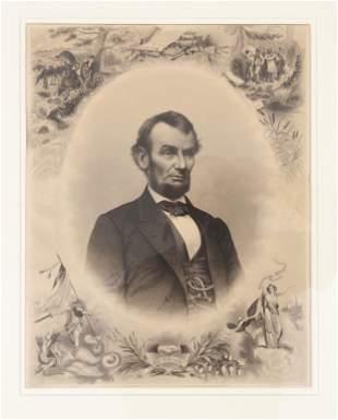 ABRAHAM LINCOLN PORTRAIT AFTER A PHOTOGRAPH BY MATHEW