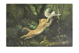 PAINTING OF A HUNTING LEOPARD